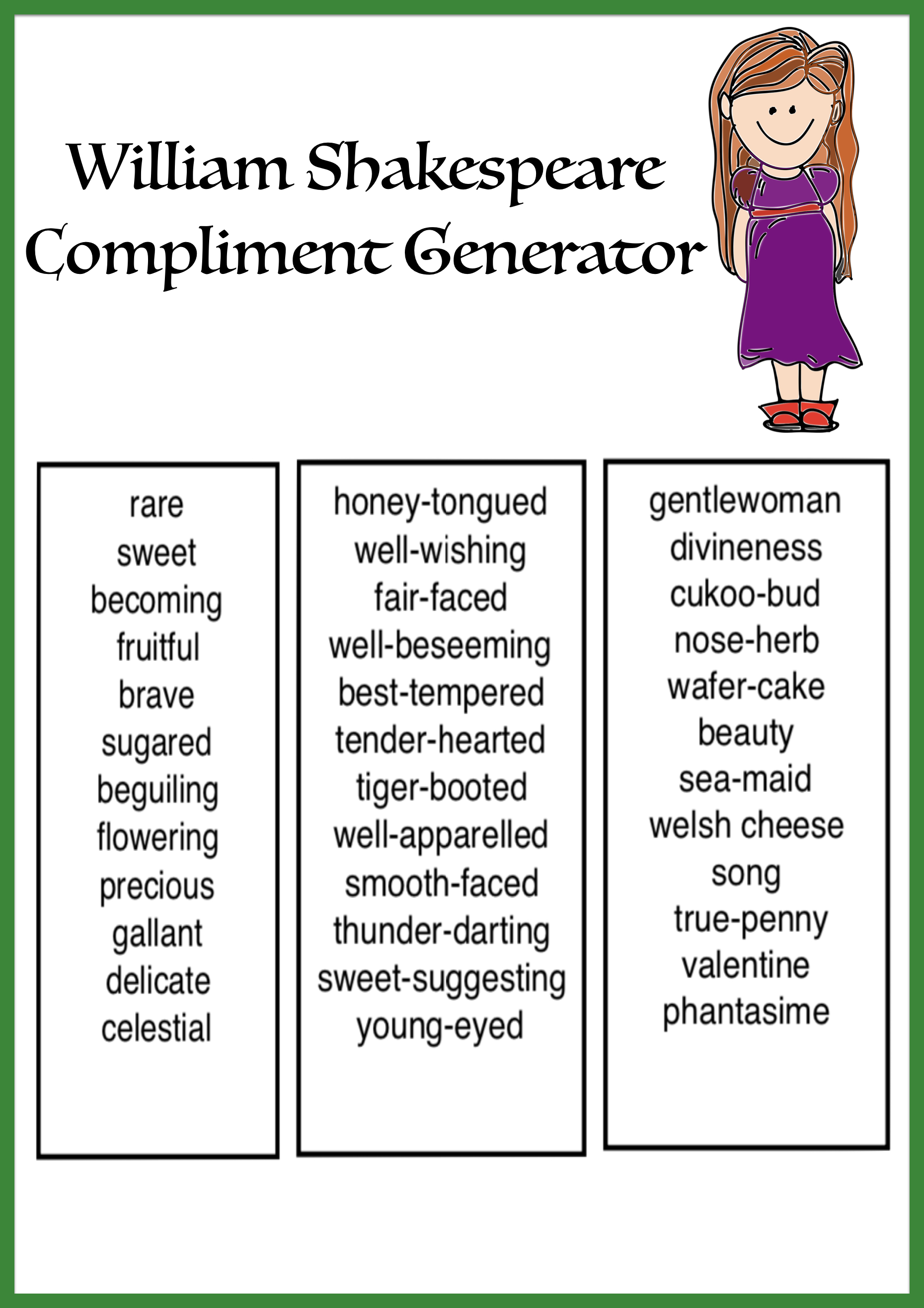 William Shakespeare Compliment Generator