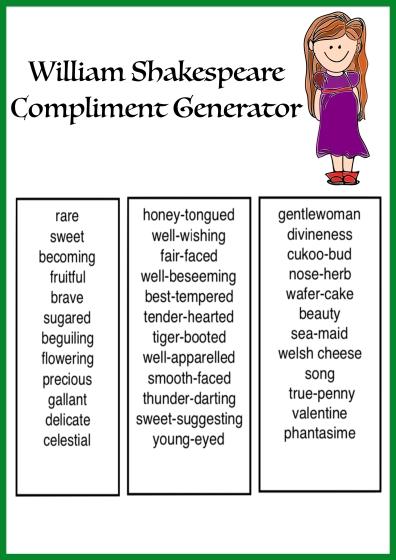 William Shakespeare Compliment Generator